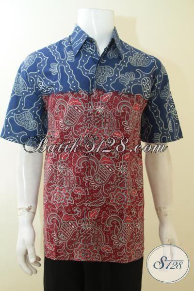 Busana Kerja Modis Dan Trendy Untuk Lelaki Muda, Batik Hem Cap Tulis Baju Kerja Pria Dewasa Model Lengan Pendek, Size L
