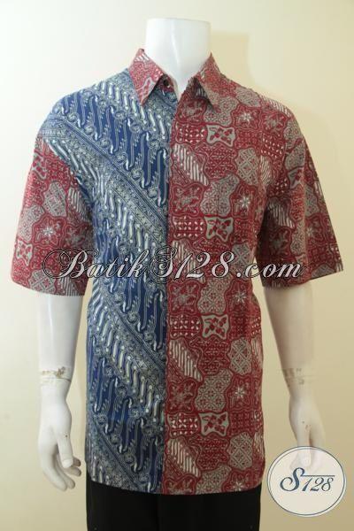 Hem Batik Kerja Pria Gemuk, Batik Dua Warna Terbaru Dari Solo, Pakaian Batik Lengan Pendek Kombinasi Dua Motif Ukuran Jumbo [LD4000CT-XXL]