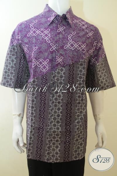Baju Batik Ukuran super Jumbo, Pakaian Batik 4L Proses Cap Tulis, Hem Batik Dua Motif Untuk cowok Gemuk Sekali Size XXXL
