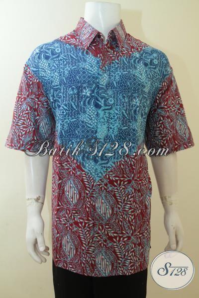 Jual Hem Batik Super Jumbo Model Lengan Pendek, Cocok Untuk Lelaki Dengan Badan Gemuk Sekali, Batik Cap Tulis Motif Keren Dan Berkelas [LD4003CT-XXXL]