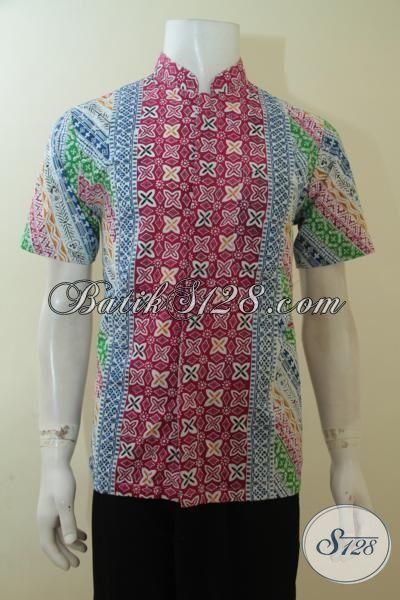 Baju Batik Khas Anak Muda Model Kerah Shanghai, Busana Batik Gaul Motif Kombnasi Berpadu Warna Keren Proses Cap, Size S