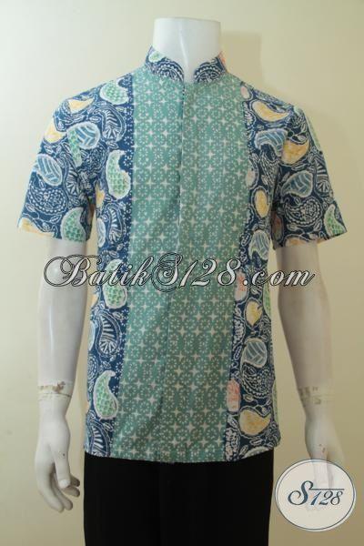 Batik Busana Muslim Model Kerah Shanghai, Baju Batik Lengan Pendek Motif Keren Lelaki Tampil Lebih Rapi Dan Trendy [LD4008CK-M]