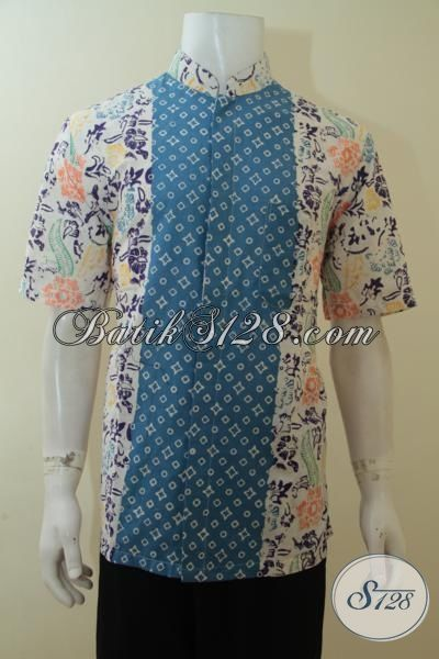 Batik Kemeja Cap Model Kerah Shanghai, Busana Batik Lengan Pendek Dua Motif Hadir Dengan Warna Keren Khas Anak Muda Masa Kini, Size L
