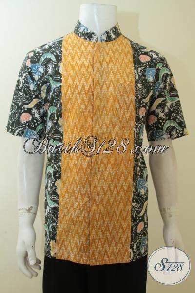 Busana Batik Desain Mewah Dan Berkelas, Pakaian Batik Lengan Pendek Model Kerah Shanghai, Batik Murah Kwlaitas Istimewa [LD4015CK-L]