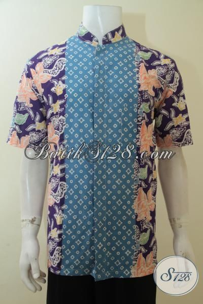 Jual Online Aneka Pakaian Batik Dua Motif Model Koko, Hem Batik Cap Kerah Shanghai Membuat Lelaki Makin Modis Dan Lebih Bergaya, Size L