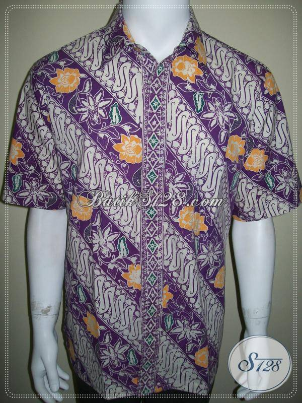Batik Pria Ungu Lengan Pendek Keren, Kemeja Batik Ungu Modern