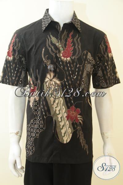 Baju Kerja Batik Buatan Solo Halus Motif Trendy, Busana Batik Tulis Elegan Cowok Semakin Gagah Maksimal, Size L