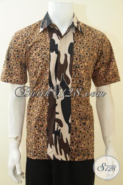 Jual Online Batik Lengan Pendek Cap Smoke Kombinasi Motif Dorang Army, Baju Batik Trendy Kesukaan Pria Muda, Size M