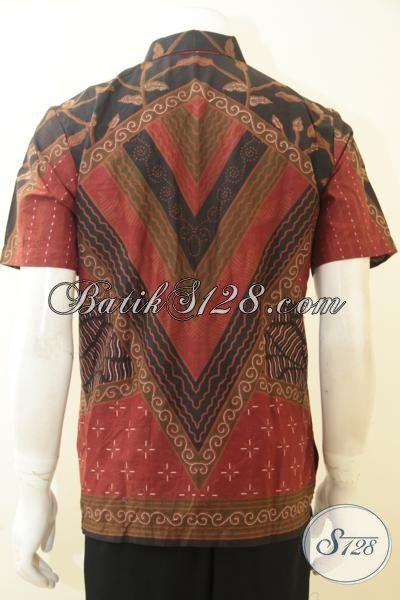 Batik Hem Klasik Proses Print, Baju Kemeja Batik Solo Motif Mewah Harga Murah Model Lengan Pendek, Size XL