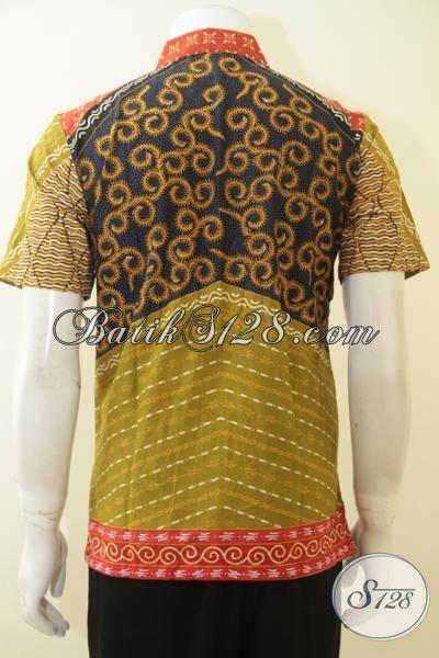 Baju Batik Kombinasi Tulis Halus Motif Klasik Warna Hijau Keren, Pakaian Batik Berkelas Untuk Pria Muda Tampil Berwibawa [LD4064BT-S]