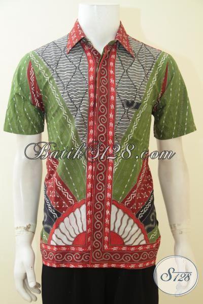 Baju Batik Klasik Dengan Desain Warna Yang Trendy, Batik Jawa Kombinasi Warna Hijau Abu-Abu Dan Merah, Hem Batik Lengan Pendek Lelaki Tampil Elegan Dan Modis [LD4066BT-M]