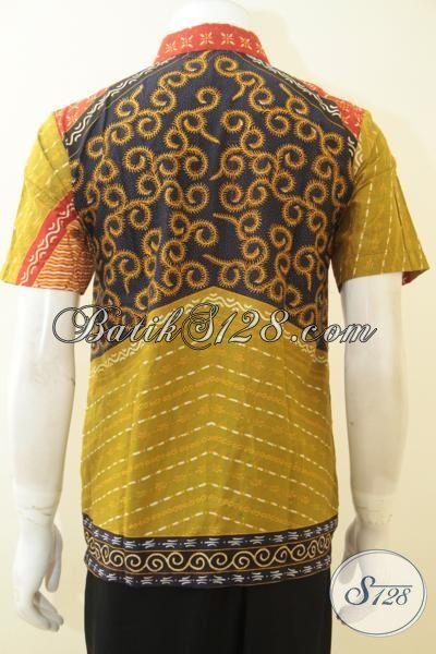 Batik Baju Motif Klasik Untuk Acara Formal, Hem Batik Motif Trend 2015 Proses Kombinasi Tulis, Pakaian Batik Lengan Pendek Istimewa Harga Terjangkau [LD4067BT-M]