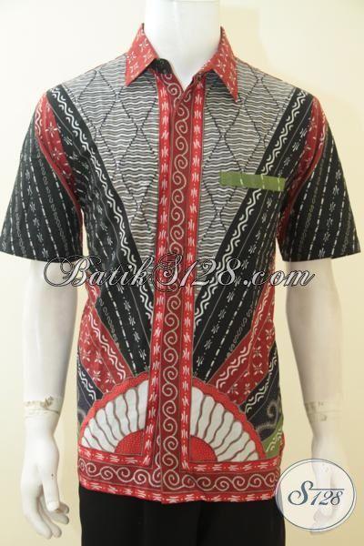 Hem Batik Elegan Motif Klasik Produk Solo, Baju Batik Kombinasi Tulis Istimewa Lengan Pendek Cowok Makin Berwibawa, Size L