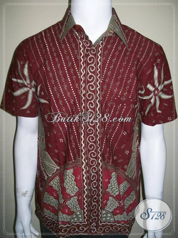 Busana Batik Pria Mewah, Eksklusif, Elegan dan Keren, Batik Tulis Merah Maroon [LD406T-M]