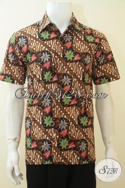 Jual Baju Batik Print Solo Motif Unik Dan Keren, Pakaian Batik Masa Kini Model Lengan Pendek Membuat Pria Lebih Tampan Dan Keren [LD4076P-XL]