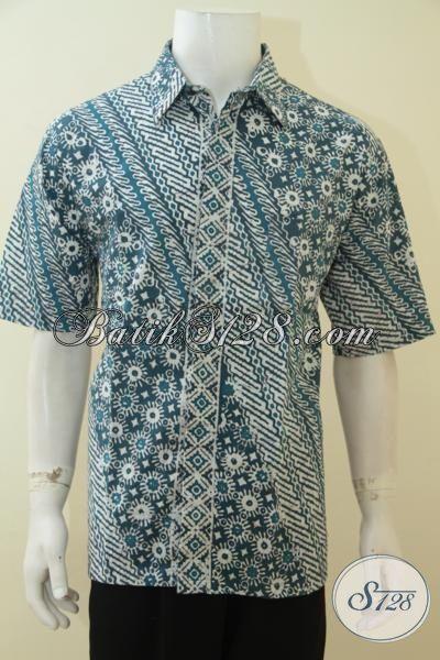 Sedia Online Baju Batik Cowok Masa Kini, Hem Batik Lengan Pendek XL Proses Cap, Pria Dewasa Tampil Trendy Dan Elegan