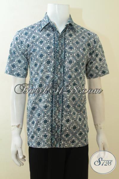 Batik Kemeja Anak Muda, Hem Batik Modis Model Lengan Pendek, Busana Batik Cap Keren Harga Terjangkau, Size M – L
