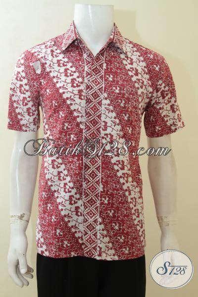 Batik Hem Motif Parang, Busana Batik Lengan Pendek Warna Merah, Batik Solo Kwalitas Halus Tampil ELegan Dan Stylist, Size M