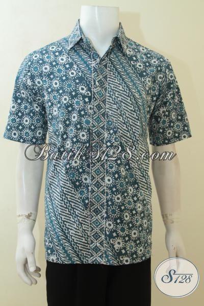 Batik Baju Kerja Buatan Solo Motif Modern Klasik, Kemeja Batik Dua Motif Warna Kalem Proses Cap, Baju Batik Ukuran L Pas Untuk Seragam Kerja