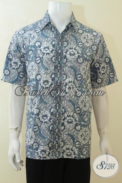 Jual Trend Baju Batik Cowok Terbaru Motif Mewah, Busana Batik Lengan Pendek Istimewa Ukuran L Cocok Untuk Ke Kantor