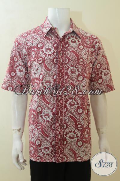 Baju Batik Merah Dasar Putih Kemeja Batik Lengan Pendek