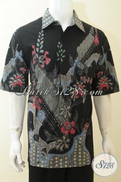 Hem Batik Tulis Anak Muda, Baju Batik Hitam Motif Modern Lengan Pendek, Busana Batik Halus Untuk Seragam Kerja Tampil Elegan Ukuran 3L [LD4097T-XXL]