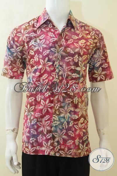Kemeja Batik Gradasi Motif Terbaru, Baju Batik Anak Muda Lengan Pendek Proses Cap Smoke Harga Murmer, Size M – L – XL