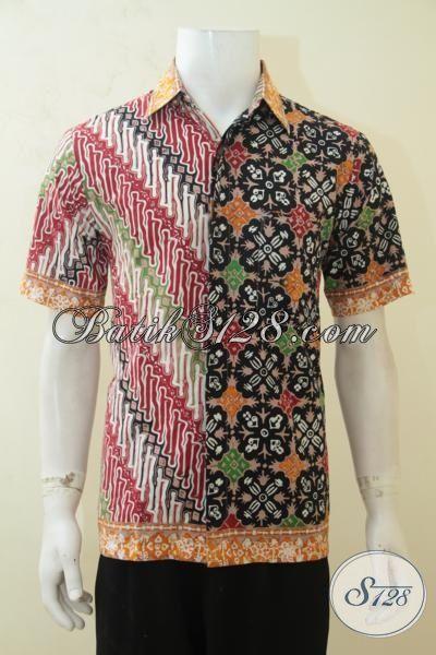 Kemeja Batik Dua Motif, Pakaian Batik Parang Modern Model Lengan Pendek, Baju Batik Cap Tulis Dengan Aksen Warna Kuning Keren Banget Mas Bro [LD4124CT-M]