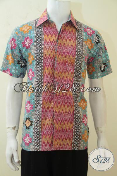 Jual Pakaian Batik Seragam Kerja Pria Muda, Batik Cap Tulis Lengan Pendek Kwalitas Premium Harga Minimum, Size M