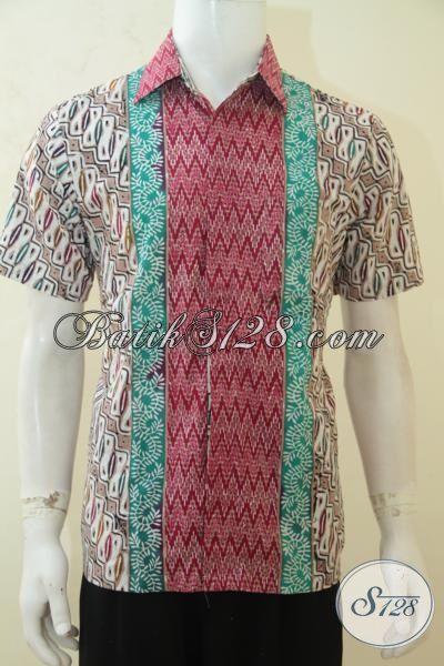 Sedia Pakaian Batik Lengan Pendek Untuk Cowok, Kemeja Batik Motif Unik Trend 2015 Yang Fashionable, Di Jual Online [LD4135CT-M]