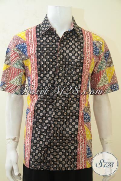 Jual Batik Hem Size L, Busana Batik Berkelas Produk Solo Berbahan Kain Halus Dan Adem, Batik Cap Tulis  Premium Pas Buat Pesta