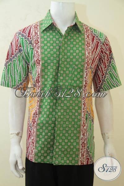 Agen Baju Batik Khas Solo, Jual Online Hem Batik Cowok Motif Terbaru Proses Cap Tulis, Batik Jawa  Modern Motif Kombinasi Dengan Warna Nan Mewah, Size L