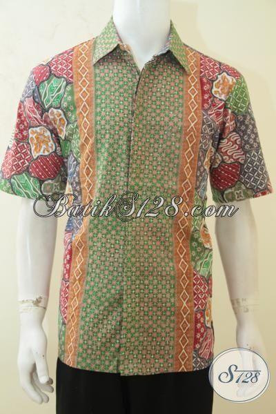 Busana Batik Pria Dewasa Motif Modern Membuat Penampilan Terlihat Muda, Batik Hem Cap Tulis Motif Terbaik Saat Ini, Size L