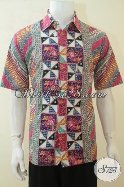 Hem Batik Berkelas Produk Solo Jawa Tengah, Pakaian Batik Kerja Lengan Pendek Desain Motif Istimewa Yang Membuat Pria Lebih Tampan, Batik Cap Tulis Halus Terjangkau [LD4148CT-L]