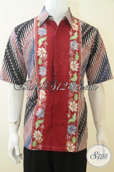 Baju Batik Anak Muda, Hem Batik Lengan Pendek Desain Motif Atraktif Dan Berkarakter, Batik Parang Bunga Proses Cap Tulis [LD4149CT-L]