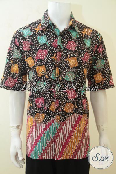 Batik Hem Bagus Desain Khas Anak Muda, Batik Masa Kini Parang Bunga, Batik Trendy Dua Motif Pas Buat Ke Kantor, Size XL