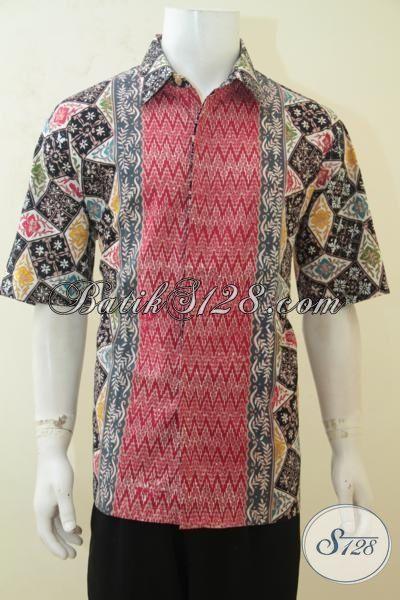 Jual Batik Hem Kwalitas Premium, Busana Batik Lengan Pendek Tiga Motif, Baju Batik Mewah Harga Terjangkau Proses Cap Tulis, Size XL