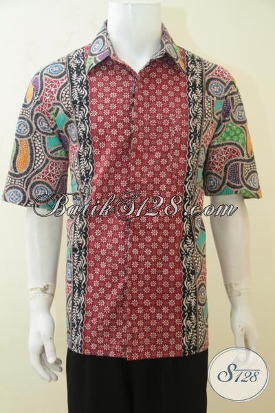 Kemeja Batik Santai Untuk Pesta, Hem Batik Cap Tulis Motif Kombinasi Yang Lebih Gaul, Baju Lengan Pendek Batik Solo Halus Dan Adem Size XL