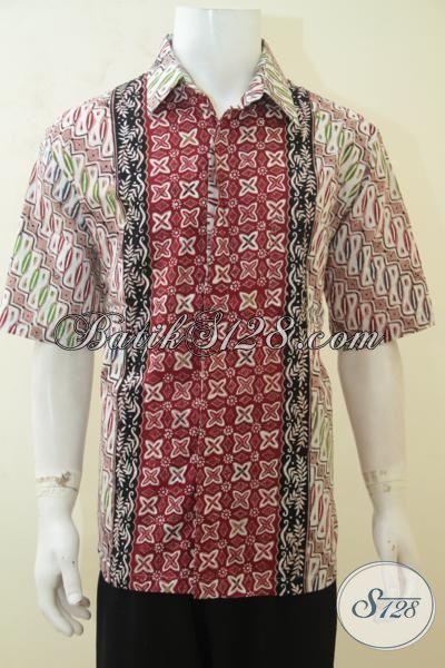 Pakaian Kerja Batik Lengan Pendek, Hem Batik Lengan Pendek Tiga Motif, Busana Batik Kwalitas Halus Cowok Makin Terlihat Kece, Size XL