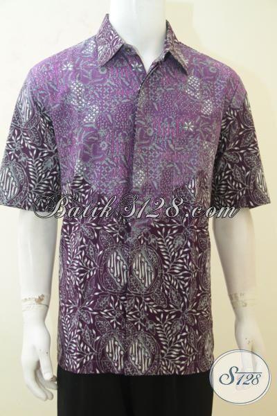 Jual Baju Batik Remaja Pria, Hem Batik Lelaki Muda, Busana Batik Lengan Pendek Warna Ungu Dual Motif Tampil Makin Menawan, Size XL
