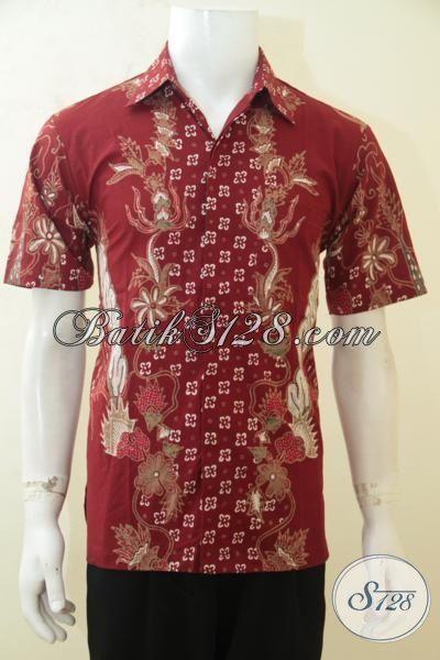 Baju Batik Merah Marun Motif Unik, Pakaian Kerja Batik Lengan Pendek Proses Tulis, Batik Solo Paling Keren Dan Paling Murah [LD4176T-M]
