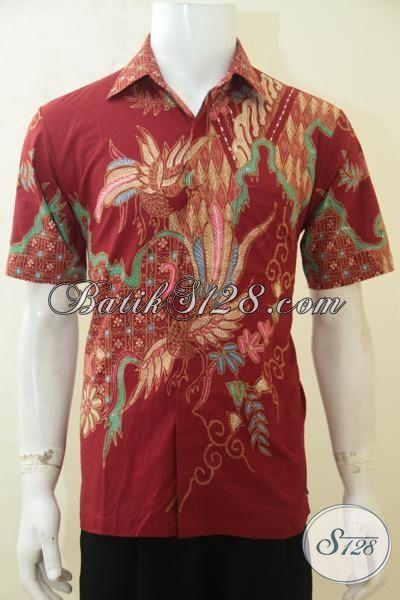 Baju Batik Pria Ukuran M, Hem Batik Modis Warna Merah Proses Tulis, Batik Motif Mewah Denga Harga Murah