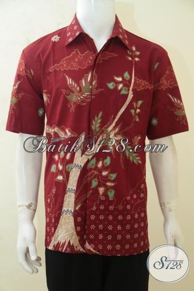 Kemeja Batik Paling Trendy Untuk Kerja, Baju Batik Modis Motif Burung Dan Pohon, Busana Batik Modern Model Lengan Pendek Warna Merah Mewah [LD4182T-L]