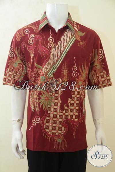 Sedia Hem Batik Lengan Pendek Merah Motif Terkini, Baju Batik Tulis Buatan Pengerajin Kwalitas Halus Dan Adem, Size XL