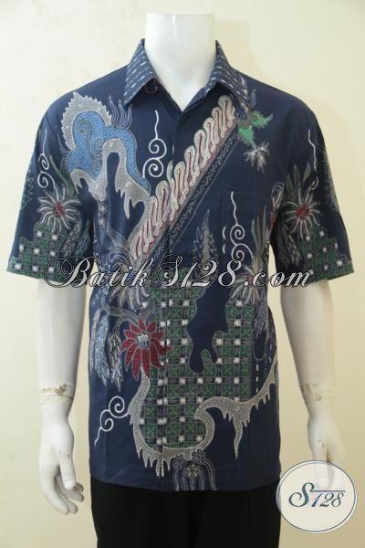 Hem Kerja Batik Size XL, Baju Batik Tulis Biru Donker Motif Terkini Bahan Lebih Halus Harga Lebih Murah Proses Tulis Tangan