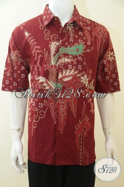 Busana Batik Lelaki Karir, Baju Batik Merah Lengan Pendek Proses Tulis, Hem Batik Halus Modis Harga Murah [LD4192T-XL]
