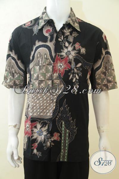Hem Batik ELegan Dasar Hitam, Baju Batik Lengan Pendek Halus Proses Tulis Lengan Pendek, Cocok Untuk Hangouts Dan Kerja, Size XL