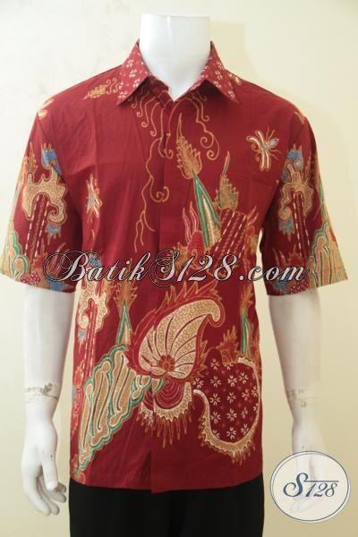 Distro Baju Batik Cowok Online, Sedia Kemeja Batik Lengan Pendek Warna Merah Motif Terkini, Batik Jawa Tengah Lelaki Lebih Modis Dan Berkarakter [LD4194T-XL]