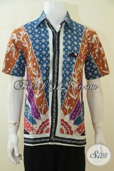 Hem Batik Tulis Exclusive Pria Muda, Baju Batik Kerja Motif Klasik Dengan Warna Modern, Pakaian Batik Tulis Solo Size M Kwalitas Halus