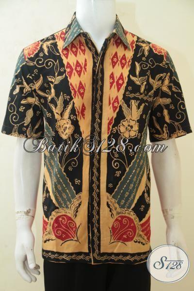 Kemeja Kerja Bahan Batik Tulis Kwalitas Halus, Busana Batik Lengan Pendek Klasik Warna Mewah Nan Elegan, Baju Batik Pria Tampil Percaya Diri [LD4209T-L]